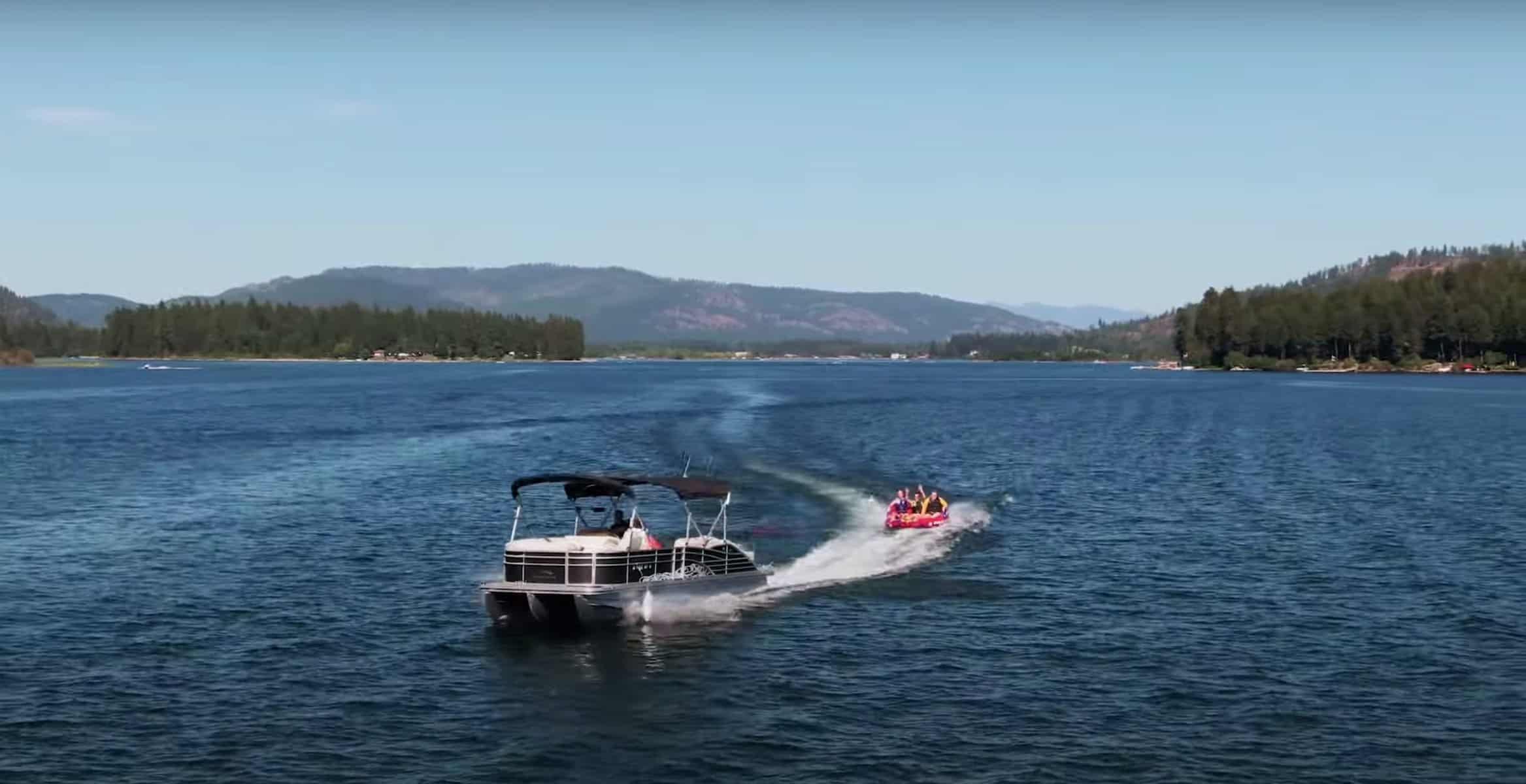 can you pull an inner tube behind a pontoon boat