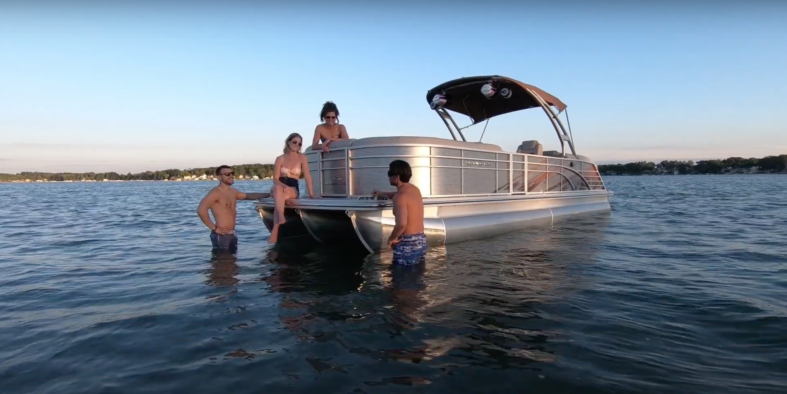 pontoon in shallow waters