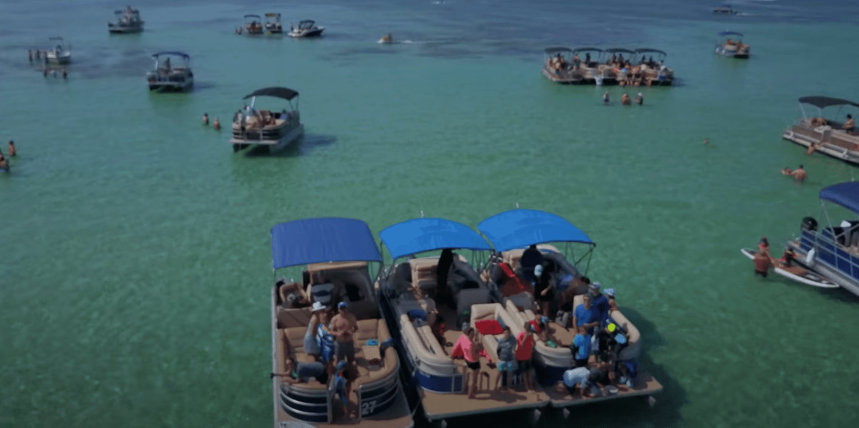 pontoon boat party on a lake
