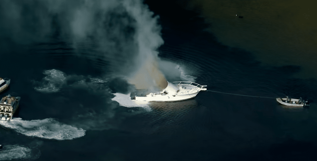 what should you do if a fire breaks out in the back of your boat
