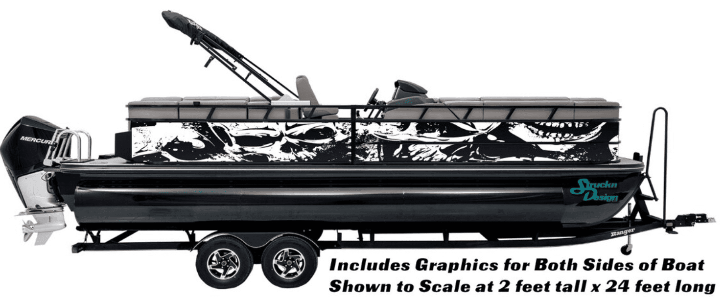 distressed vinyl graphic wrap for pontoon boats