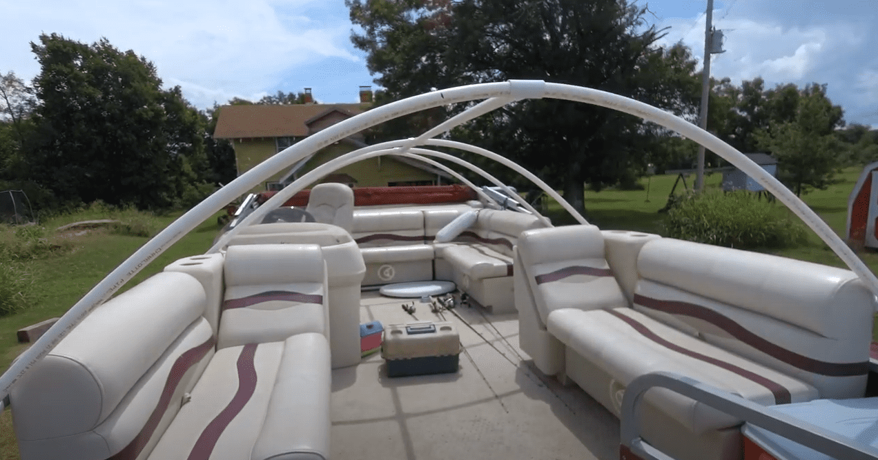 homemade pontoon boat cover support system