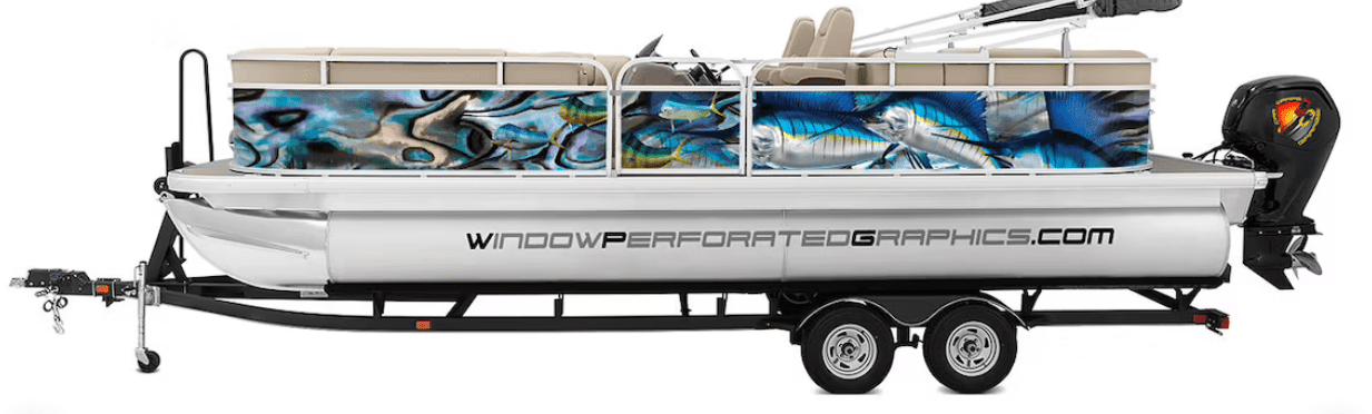 marlin fishes blue abstract boat vinyl wrap fishing pontoon skiff decal