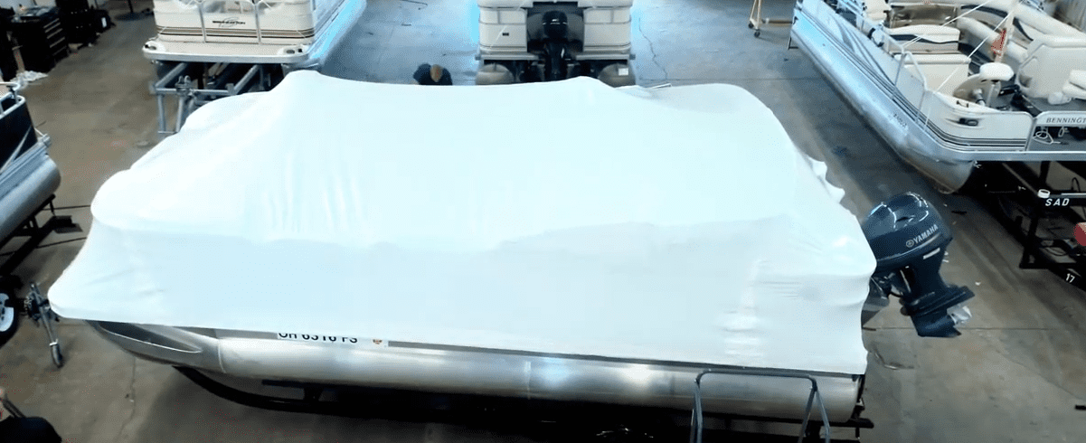 shrink wrapping a pontoon boat for storage