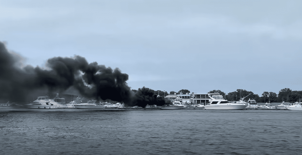 what should you do if the motor on your boat catches fire